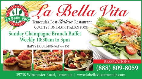Sunday Champagne Brunch Buffet at La Bela Vita