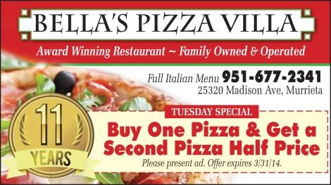 Bella's Pizza Villa in Murrieta Tuesday Special